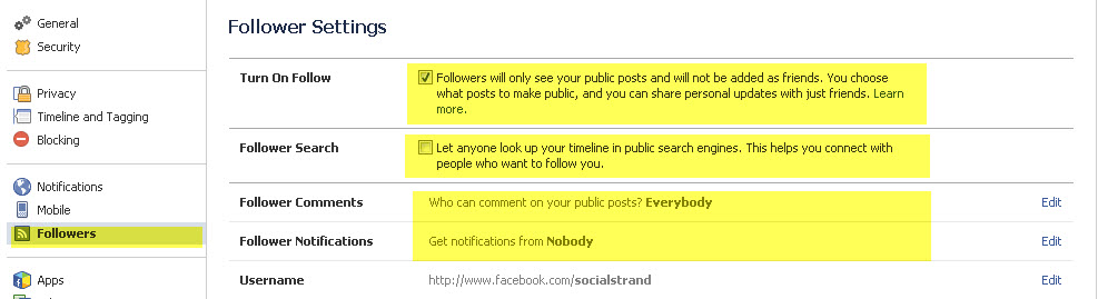 Follow button on Facebook
