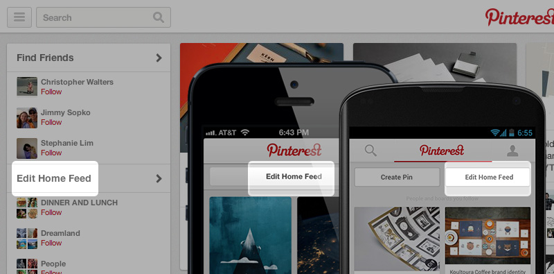 Pinterest Edit Home Feed button