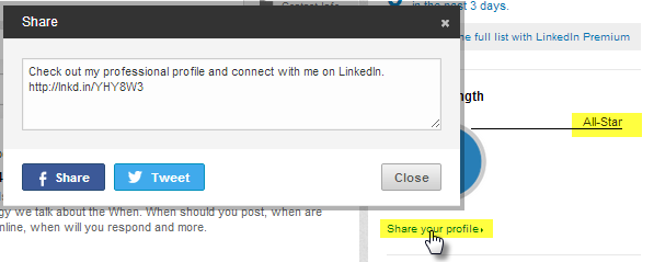 LinkedIn Share profile